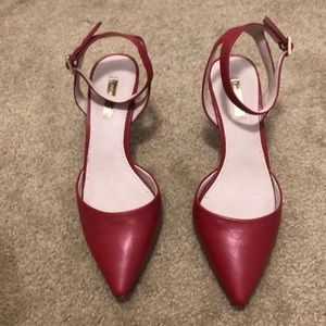 Red ankle strap pump